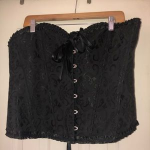 Sexy Black Bustier with ribbon ties